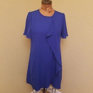 NWT BCBG Maxazria Womens Faux Wrap Blue Dress S